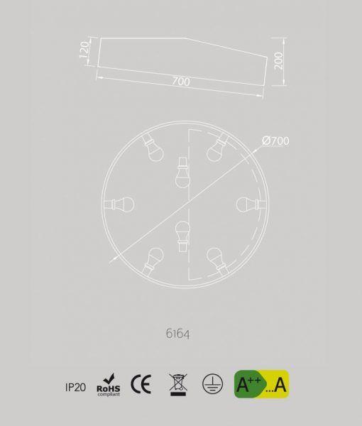 Medidas plafón grande circular blanco MINI