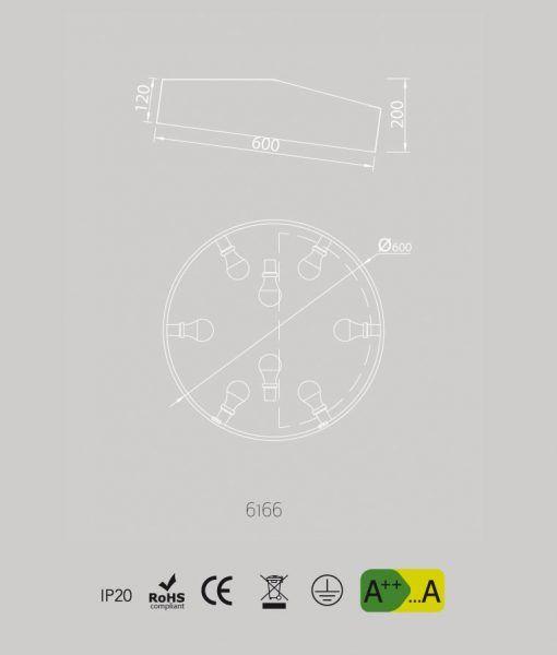 Medidas plafón mediano circular blanco MINI