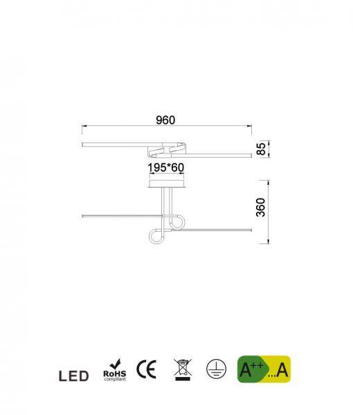 Medidas semi plafón 2 brazos cromo CINTO LED