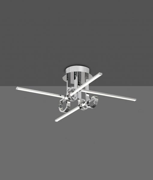 Semi plafón 4 brazos cromo CINTO LED
