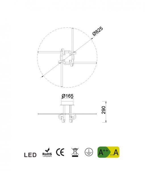 Medidas semi plafón 4 brazos cromo CINTO LED