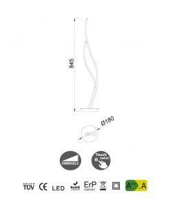 Medidas sobremesa de diseño grande dimable plata cromo CORINTO LED