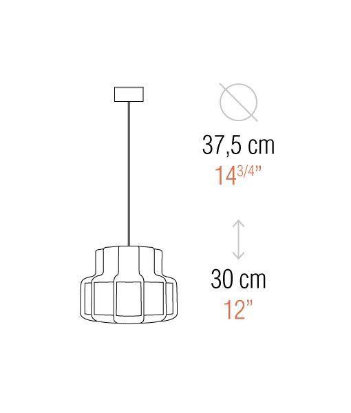 Medidas lámpara colgante look años 60 BANDA