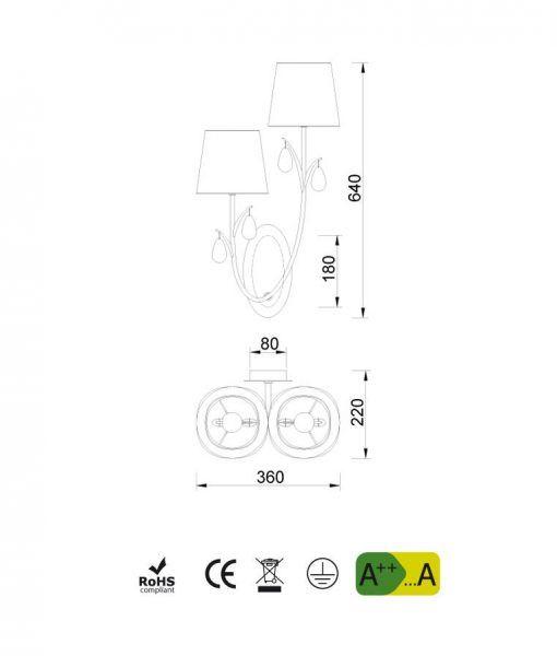 Medidas aplique 2 luces cromo ANDREA