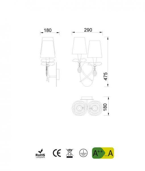 Medidas aplique 2 luces plata SOPHIE