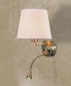 Aplique con lector LED con USB acabado color cuero CAICOS detalle