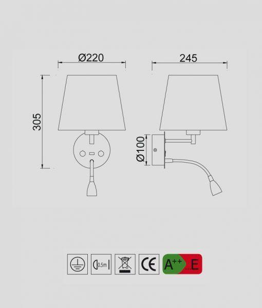 Medidas aplique con lector LED con USB CAICOS