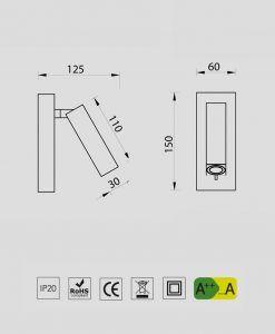 Medidas aplique LED 3W TARIFA