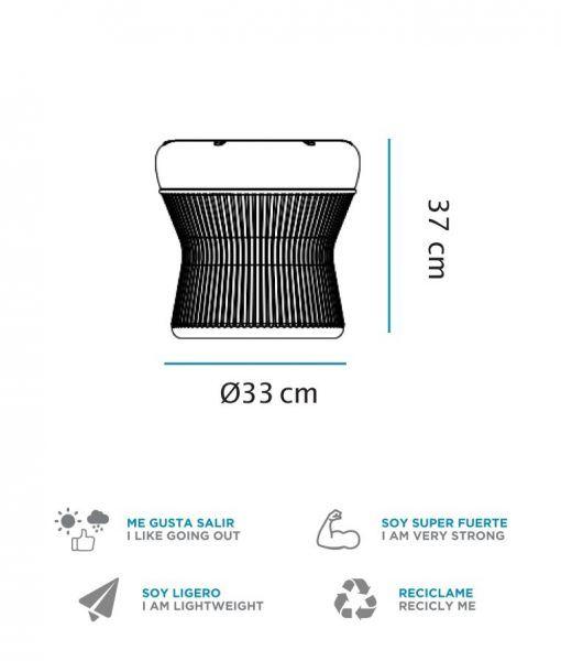 Medidas asiento con luz 37 cm altura CORFU