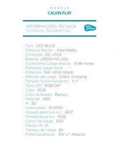 Asiento lámpara con altavoz CALVIN PLAY especificaciones técnicas