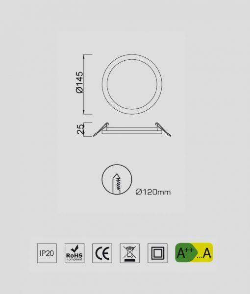 Medidas empotrable fino circular 12W blanco luz cálida SAONA