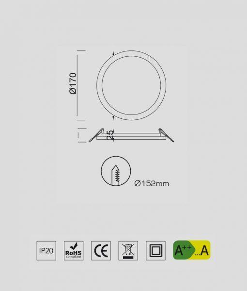 Medidas empotrable fino circular 18W blanco luz cálida SAONA