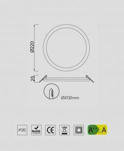 Medidas empotrable fino circular 24W blanco luz cálida SAONA