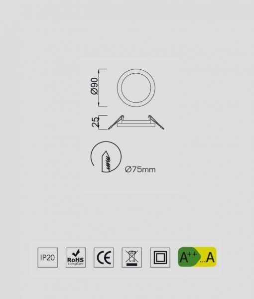 Medidas empotrable fino circular 6W blanco luz cálida SAONA
