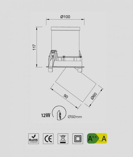 Medidas empotrable foco LED blanco 12W GARDA