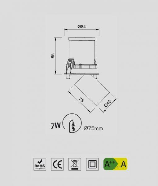 Medidas Empotrable foco LED blanco 7W GARDA