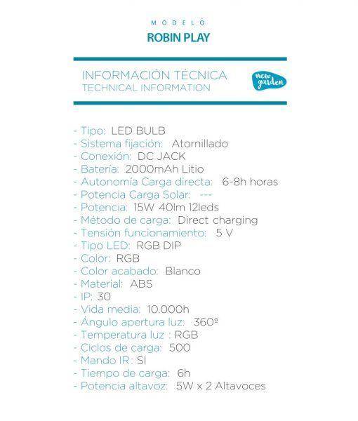 Iluminación portátil RGB con altavoz ROBIN PLAY especificaciones técnicas