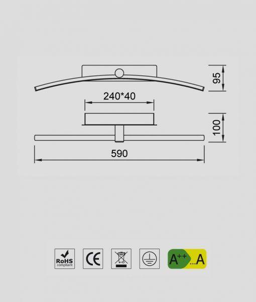Medidas lámpara aplique cromo LED 12W JERI