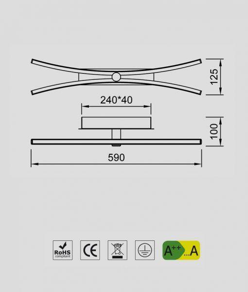 Medidas lámpara aplique cromo LED 24W JERI