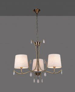 Lámpara colgante 3 luces cuero satinado ANDREA detalle
