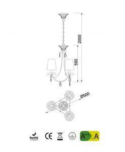 Medidas lámpara colgante 3 luces plata SOPHIE