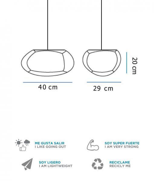 Medidas lámpara colgante 40 cm anchura PETRA HANG