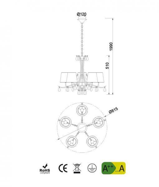 Medidas lámpara colgante 5 luces cromo ANDREA