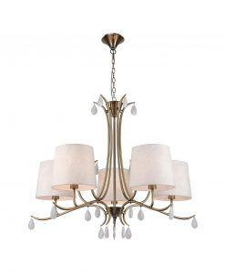 Lámpara colgante 5 luces cuero satinado ANDREA