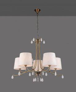 Lámpara colgante 5 luces cuero satinado ANDREA detalle