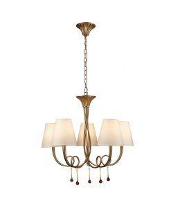 Lámpara colgante 5 luces dorado PAOLA