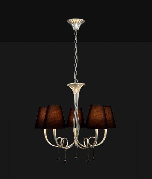 Lámpara colgante 5 luces plata PAOLA detalle