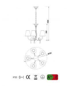 Medidas lámpara colgante 5 luces plata PAOLA
