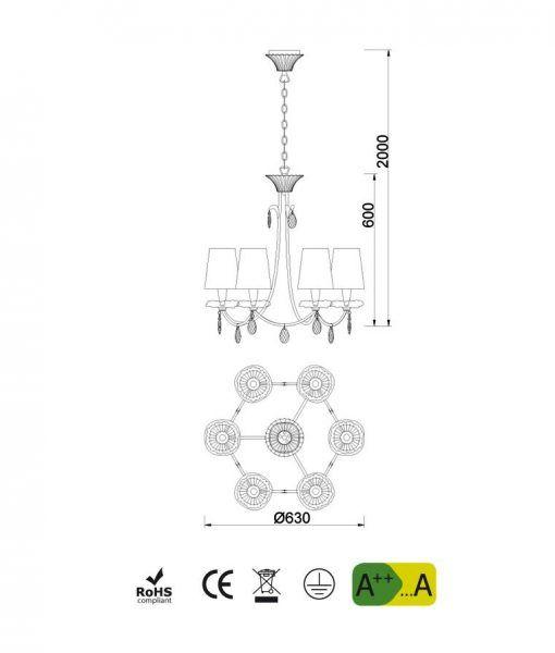 Medidas lámpara colgante 6 luces dorado SOPHIE