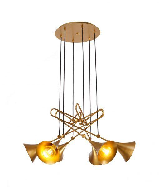 Lámpara colgante 6 luces pintado oro mate JAZZ