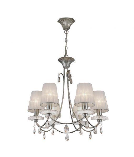 Lámpara colgante 6 luces plata SOPHIE