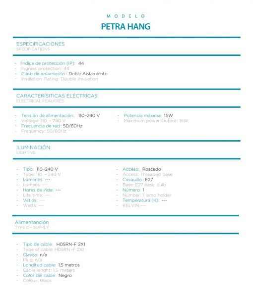 Medidas lámpara colgante 60 cm anchura PETRA HANG especificaciones técnicas