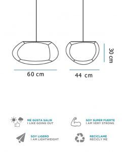 Medidas lámpara colgante 60 cm anchura PETRA HANG