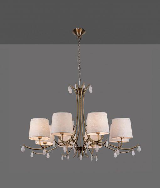 Lámpara colgante 8 luces cuero satinado ANDREA detalle