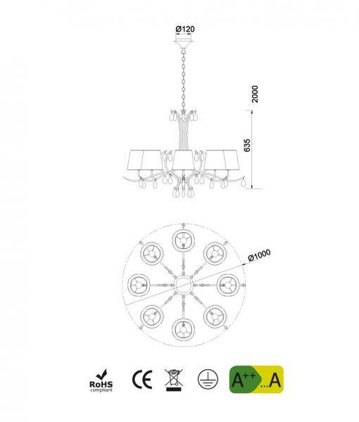 Medidas lámpara colgante 8 luces cuero satinado ANDREA