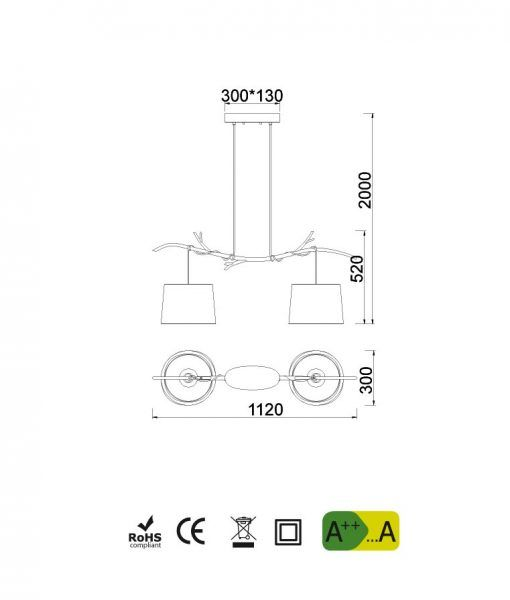 Medidas lámpara colgante lineal 2 luces SABINA