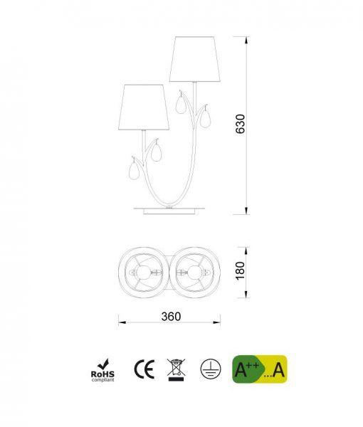 Medidas lámpara de mesa 2 luces cromo ANDREA