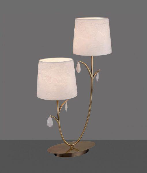 Lámpara de mesa 2 luces cuero satinado ANDREA detalle