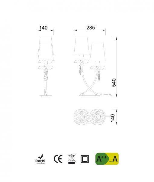 Medidas lámpara de mesa 2 luces plata SOPHIE