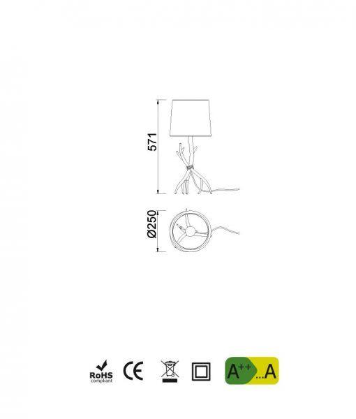 Medidas lámpara de mesa SABINA