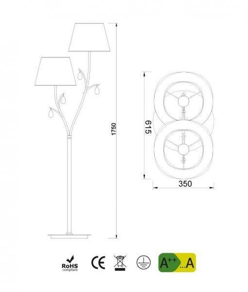 Medidas lámpara de pie 2 luces cromo ANDREA