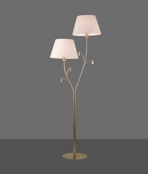 Lámpara de pie 2 luces cuero satinado ANDREA detalle