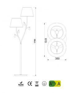 Medidas lámpara de pie 2 luces cuero satinado ANDREA