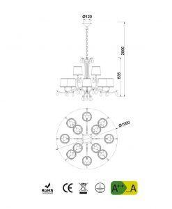 Medidas lámpara de techo 12 luces cromo ANDREA