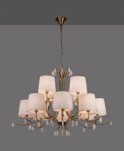 Lámpara de techo 12 luces cuero satinado ANDREA detalle