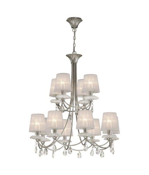Lámpara de techo 12 luces plata SOPHIE